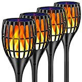 Ollivage Solar Lights Outdoor, 43' Flickering Flames Torch Lights Solar Garden Lights Waterproof Landscape Lighting Dusk to Dawn Auto On/Off Security Torch Light for Yard Patio Driveway, 4 Pack