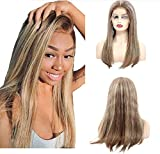 13x4 Lace Front Wigs Human Hair Balayage Ombre Glueless Lace Frontal Straight Wigs Highlighted Chestnut Brown to Bleached Blonde Hair 150% Density Bleached Knots 16 inches