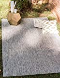 Unique Loom Outdoor Solid Collection Casual Transitional Indoor and Outdoor Flatweave Light Gray  Area Rug (4' 0 x 6' 0)