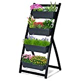 4ft Vertical Raised Garden Bed 4 Tier Vertical Garden Planter Boxes with Container Boxes Elevated Planter Boxes Outdoor Indoor for Flowers Patio Herbs Balcony Garden