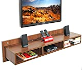 BLUEWUD Reynold Wall Mounted TV Unit/Entertainment Unit (Walnut) Large
