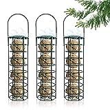 Dyna-Living 3 Stück Wildvögel Futterstelle, Meisenknödelhalter zum Aufhängen, Futterstationen für Wildvögel, Fettfutter Meisenknödel Futtersäule für Vögel, Vogelfutterspender für den Garten