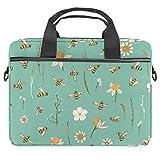 Bees and Flowers - Bolsa para portátil de 13,4 a 14 pulgadas, multifuncional, maletín portátil, correa ajustable para el hombro