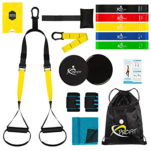 Profit Home Fitness Training Tapes - Suspension Trainer Rope Kit with Door Anchor, 5 Elastic Bands, Sliding Discs, Towel and Wristbands.  Bodybuilding Home Gym Kit.