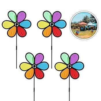 GLAITC Moulins à Vent Colorés,4 pièces Spinner à Vent Extérieur Coloré Moulin à Vent Spinner Jardin 6 Feuilles Moulin à Vent pour Jardin Patio Petit Décor de Moulin à Vent