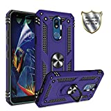 LG K40 Case, LG Solo LTE/ K12 Plus/ X4 2019 Cases with HD Screen Protector,Gritup 360 Degree Rotating Metal Ring Holder Kickstand Armor Anti-Scratch Bracket Cover Phone Case for LG K40 Purple