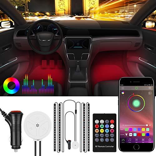 Striscia di luci LED per auto, Striscia LED Auto con APP Control, Sincronizza con la musica, con Telecomando, 4 pezzi a 72 LED