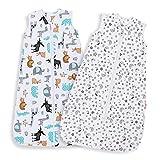 Lictin Gigoteuse d'Emmaillotage - 2pcs Couverture Bébé en Coton Biologique Couverture d'emmaillotage pour Bébé 2 modèles Longueur Ajustable de 90 à 110 cm Pour Bébé de 18 à 36 Mois
