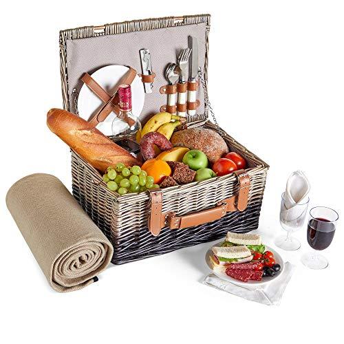 VonShef Korbgeflechter Picknickkorb für 2 Personen- Enthält Besteck (Gabel, Messer & Löffel), Teller, Weingläser, wasserdichte Decke, Servietten - Ideal für Strandausflüge & Camping