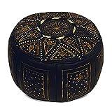 Medina Souvenirs Pouf fassi en Cuir Noir et Or, Pouf marocain Fait Main en Cuir...