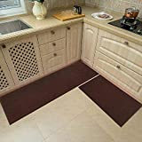 48x20 Inch/30X20 Inch Kitchen Rug Mats Made of 100% Polypropylene 2 Pieces Soft Kitchen Mat Specialized in Anti Slippery and Machine Washable,Brown