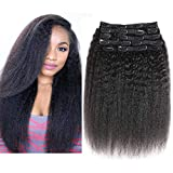 YAMI Kinky Yaki Straight Clip in Human Hair Extensions Triple Weft Brazilian Unprocessed Virgin Hair Top Grade 10A 10Pieces/set for American Women (14, Kinky Straight)