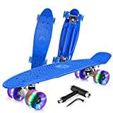 BELEEV Skateboard 22 inch Complete Mini Cruiser Retro Skateboard for Kids Teens Adults, LED Light up Wheels with All-in-One Skate T-Tool for Beginners (Blue)