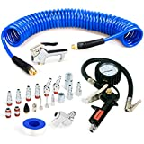 FYPower 22 Pieces Air Compressor Accessories kit, 1/4 inch x 25 ft Recoil Poly Air Compressor Hose Kit, 1/4' NPT Quick Connect Air Fittings, Tire Inflator Gauge, Blow Gun, Swivel Plugs