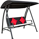 PatioPost Porch Swing Outdoor Lounge Chair Seats 3 Patio PE Wicker Glider Bench with Steel Frame and Padded Cushion,Black