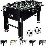 Maxstore Baby-Foot Leeds, décors: Noir, avec 2 balles + 2 Porte-gobelets, Baby Foot Foosball Kicker Table