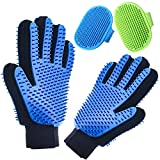 Pet Grooming Gloves Double Sided with Sponges Shedding Hair Remover Brush for Dogs Cats & Horses with Long or Short Fur Slicker Mitt Comb for Bath, Deshedding, Petting, Massage One Pair Black Gloves
