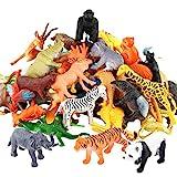 54 Pièces Mini Jouets Animaux Maquis, Monde Animal Ressemblant Animaux Sauvages...