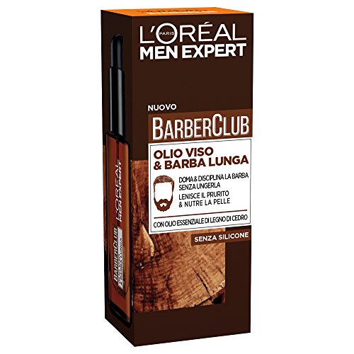 L'Oréal Paris Men Expert Barber Club Olio Disciplinante Idratante per Viso e Barba Lunga, Nutre le Pelle e Disciplina la Barba, 30 ml