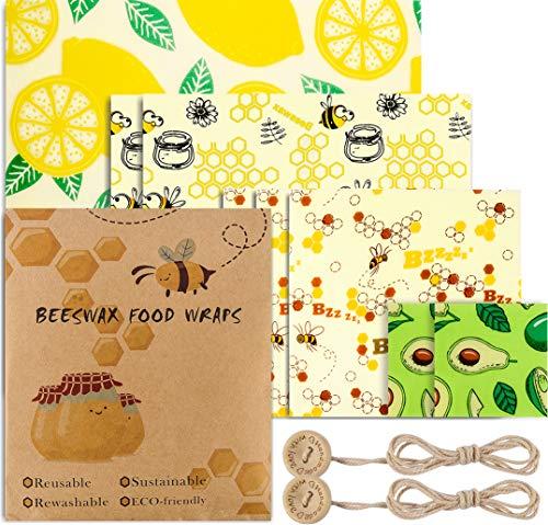 Uarter - Set di 8 involucri in cera d'api ecologici, lavabili e riutilizzabili, per formaggio e panini, per la copertura di ciotole, alternativa alla pellicola trasparente