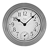 Equity by La Crosse 29007 Outdoor Thermometer & Humdity Wall Clock, 8', Metallic Silver