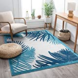 Well Woven Rashida Blue Tropical Floral Area Rug 5x7 (5'3' x 7'3')