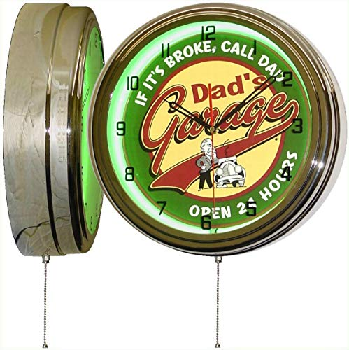 DADS GARAGE OPEN 24 HOURS 15 Inch Neon Light Wall Clock If Its Broke - Call Dad! Funny Metal Sign Dial Face - Makes a Great Gift for Dad