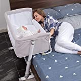 Baby Bassinet,RONBEI Bedside Sleeper,Baby Bed to Bed,Babies Crib Bed, Adjustable Portable Bed for Infant/Baby Boy/Baby Girl/Newborn (Light Grey)
