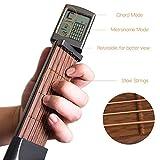 Hamkaw Trainer de guitare de poche amélioré avec écran rotatif, faible bruit 6 frettes, outil...