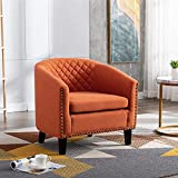 SSLine Armchair Barrel Club Chair,Modern Line Fabric Accent Chair Arm Club Chair w/Nailheads and Solid Wood Legs,Tub Barrel Style Lounge Chair for Living Room Bedroom Reception Room (Orange)