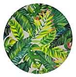 Goodbath Banana Leaf Round Area Rug, Tropical Palm Leaves Design Non-Slip Fabric Round Rugs for Bedroom Living Room Study Room Playing Floor Mat Carpet, 4 Feet, Green White