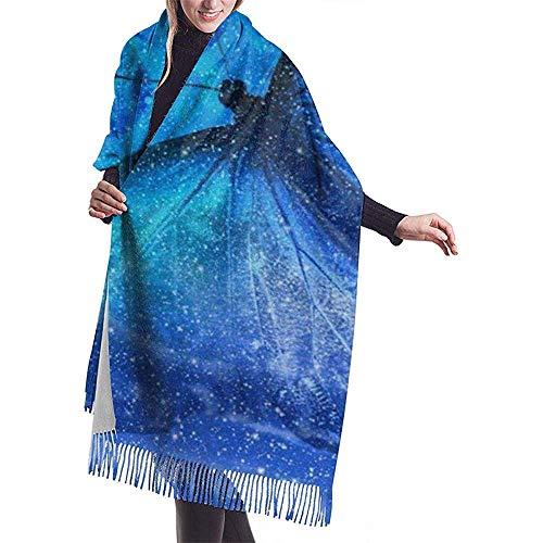 Bufanda Bufanda para mujer Universe Star Moon Butterfly Bufanda clásica con borlas a cuadros Bufanda cálida de otoño e invierno