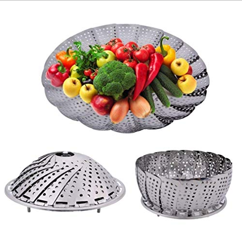 """Vital Creations 9"""" Stainless Steel Steamer Basket Medium for Vegetable/Insert for Pots, Pans,"""
