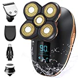 OriHea Electric Shaver for Blad Head Men, LED Display Rechargeable Electric Rotary Shaver, IPX7-Waterproof, Faster-Charging, Mens Grooming Kit, Beard Trimmer, Nose Hair & Hair Clippers - Gold