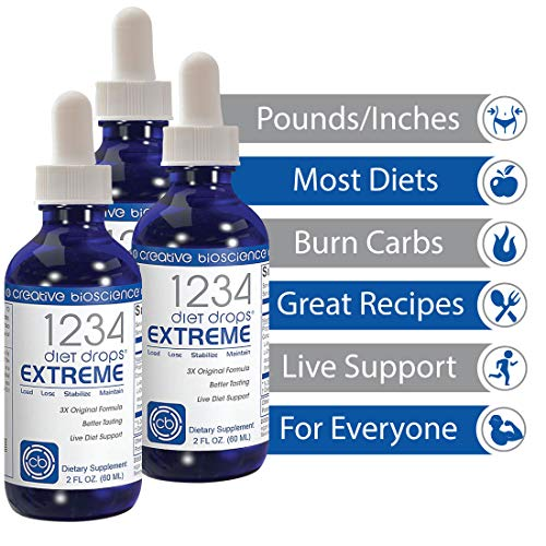 Creative Bioscience 1234 Diet Drops Extreme - Weight Loss Drops with Key Amino Complex for Keto Diet, Intermittent Fasting, 1234 Diet, 2 Fl Oz (3 Pack) 2