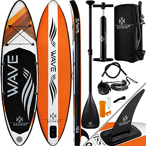 KESSER® Aufblasbare SUP Board Set Stand Up Paddle Board | 320x76x15cm 10.6\' | Premium Surfboard Wassersport | 6 Zoll Dick | Komplettes Zubehör | 130kg, Orange
