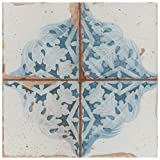 SomerTile, White/Blue/Cream/Brown FPEARTAD Artisa Ceramic Floor and Wall Tile, 13' x 13', Azul Décor, 10