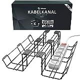 Kabelkanal Schreibtisch TÜV Rheinland geprüft - Kabelmanagement Schreibtisch für Ordnung am Arbeitsplatz - Kabelhalter Kabelwanne Tisch 2er Set - Kabelkanal - 38 x 10,5 x 11 cm (Schwarz)