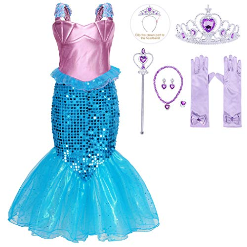 HenzWorld Princess Fancy Dress Mermaid Costume Little Girls Birthday Party Role Play Cosplay Sequin Fish Tail Skirt Ruffle Sleeveless Outfits Jewelry Accessories Wand Tiara Gloves Kids Age 5-6 Years