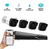 Laview 8 Channel 5MP HD-TVI Security Camera System Video DVR Recorder with 1TB Hard Drive, 4 5MP Waterproof IP66 CCTV Indoor/Outdoor Bullet Cameras Home Surveillance System with Night Vision