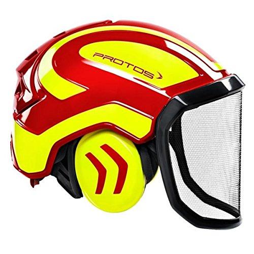 Protos 204002-10-12,casco forestale da 54-62cm, colore giallo e rosso