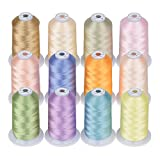 Simthread 12 Brother Colors of Huge Spool 5000M Polyester Embroidery Machine Thread for Commercial and Domestic Embroidery Machines - Assorted Color 3