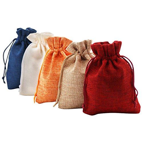 SumDirect 9.5x14cm 20 Pcs Bolsas de Lino de Color Mezclado de Regalo Favores Bolsas Joyas de Boda Fiesta Artesanía Bolsas de arpillera con cordón de Nylon