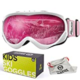 OutdoorMaster Kids Ski Goggles - Helmet Compatible Snow Goggles for Boys & Girls with 100% UV Protection (White-Pink Frame + VLT 46% Pink Lens)