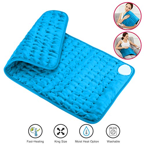 Heating Pad,Large Heating Pads for Back Pain Auto Shut Off Electric Heating Pad 12'x24'Back Heat Pad with Moist/Dry Option,6 Temperature Settings Moist Heating Pad for Cramps,Neck,Shoulder,Elbow(Blue)