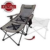 Xgear 2 in 1 Camping Chair Recliner Folding Chaise Lounge Chair with Footrest (Footrest Can Transform to Side Table) Very Stable, for Fishing, Beach, Picnics, Festival,Leisure