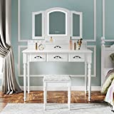 M&W Makeup Vanity Table Set with Tri-Folding Mirror, Built-in 3 Color LED Light, Dressing Desk with 7 Drawers and Cushioned Stool for Bedroom, White