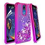 Wallme LG K40 Case,LG Solo LTE(L423DL)/Harmony 3/X4 2019/LMX420/Xpression Plus 2 Case w/HD Screen Protector,Glitter Quicksand TPU Bumper Shockproof Protective Phone Case for Girls Women-Pink/Purple