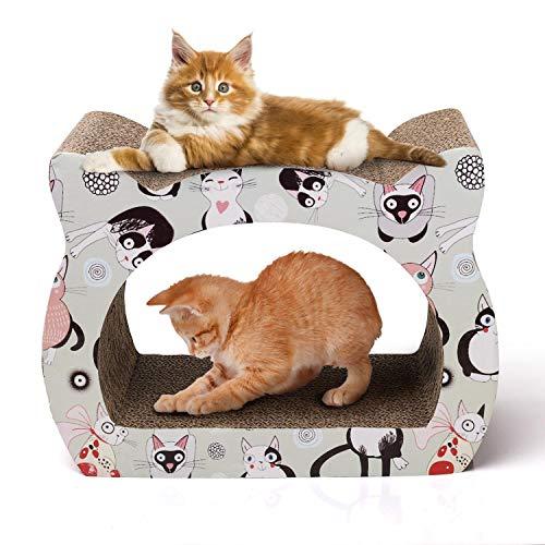 Nobleza - Katzenkratzer Katzenkratzbrett Katzenform Kätzchen Lounge Kartonkratzer mit Katzenminze