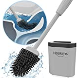 Holikme Silicone Toilet Brush and Holder Set for Bathroom, Deep-Cleaning Toilet Bowl Brush with...